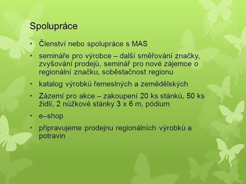 Spolupráce Členství nebo spolupráce s MAS semináře pro výrobce – další směřování značky, zvyšování prodejů, seminář pro nové zájemce o regionální značku, soběstačnost regionu katalog výrobků řemeslných a zemědělských Zázemí pro akce – zakoupení 20 ks stánků, 50 ks židlí, 2 nůžkové stánky 3 x 6 m, pódium e–shop připravujeme prodejnu regionálních výrobků a potravin