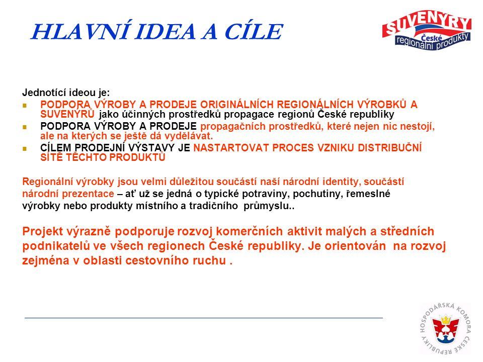 HLAVNÍ IDEA A CÍLE Jednotící ideou je: PODPORA VÝROBY A PRODEJE ORIGINÁLNÍCH REGIONÁLNÍCH VÝROBKŮ A SUVENÝRŮ jako účinných prostředků propagace regionů České republiky PODPORA VÝROBY A PRODEJE propagačních prostředků, které nejen nic nestojí, ale na kterých se ještě dá vydělávat.
