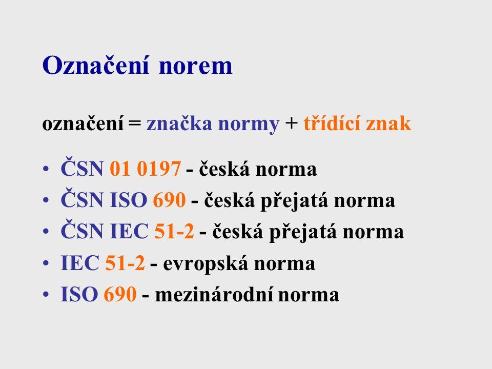 Označení norem označení = značka normy + třídící znak ČSN 01 0197 - česká norma ČSN ISO 690 - česká přejatá norma ČSN IEC 51-2 - česká přejatá norma IEC 51-2 - evropská norma ISO 690 - mezinárodní norma