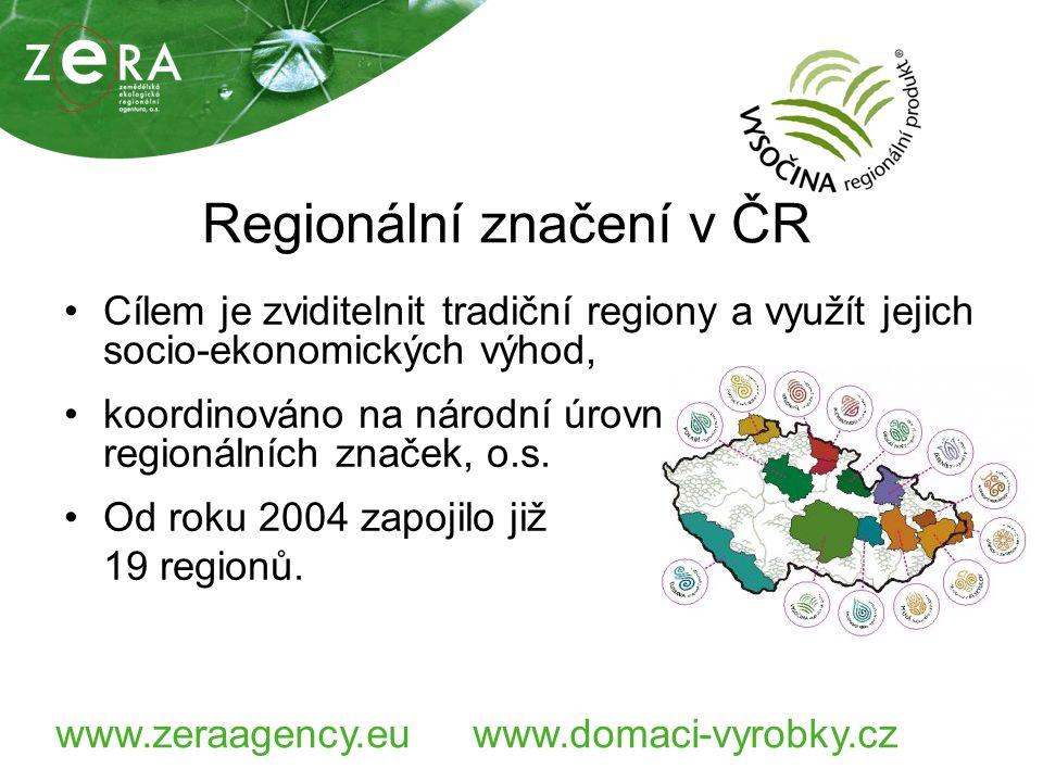 www.zeraagency.euwww.domaci-vyrobky.cz Regionální značení v ČR Cílem je zviditelnit tradiční regiony a využít jejich socio-ekonomických výhod, koordinováno na národní úrovni Asociací regionálních značek, o.s.