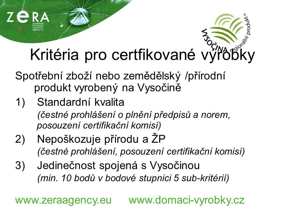 www.zeraagency.euwww.domaci-vyrobky.cz Kritéria pro certfikované výrobky Spotřební zboží nebo zemědělský /přírodní produkt vyrobený na Vysočině 1) Standardní kvalita (čestné prohlášení o plnění předpisů a norem, posouzení certifikační komisí) 2) Nepoškozuje přírodu a ŽP (čestné prohlášení, posouzení certifikační komisí) 3) Jedinečnost spojená s Vysočinou (min.