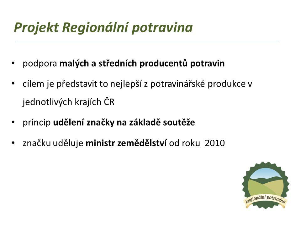 """Soutěže o značku Regionální potravina soutěže o značku Regionální potravina se vyhlašují jednou ročně v každém ze 13 krajů České republiky vítěz získá certifikát a právo užívat značku """"Regionální potravina daného kraje po dobu 4 let přihlášený produkt musí být vyroben v daném regionu podíl místních surovin musí tvořit minimálně 70 % hlavní složka musí být stoprocentně domácího původu"""