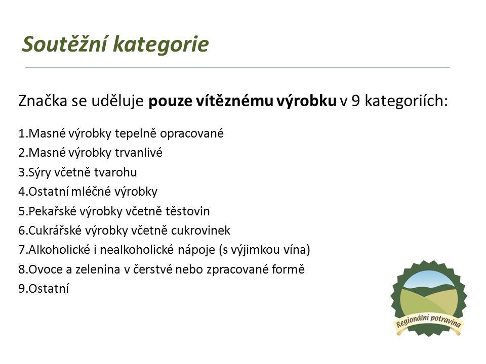 Soutěžní kategorie Značka se uděluje pouze vítěznému výrobku v 9 kategoriích: 1.Masné výrobky tepelně opracované 2.Masné výrobky trvanlivé 3.Sýry včetně tvarohu 4.Ostatní mléčné výrobky 5.Pekařské výrobky včetně těstovin 6.Cukrářské výrobky včetně cukrovinek 7.Alkoholické i nealkoholické nápoje (s výjimkou vína) 8.Ovoce a zelenina v čerstvé nebo zpracované formě 9.Ostatní