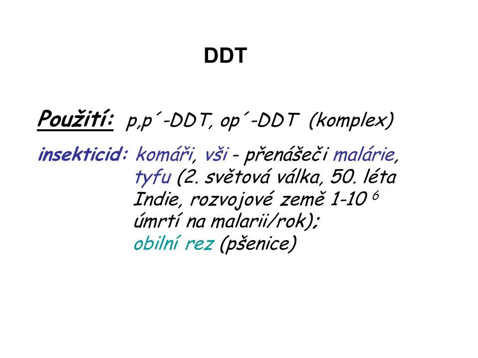 Použití: p,p´-DDT, op´-DDT (komplex) insekticid: komáři, vši - přenášeči malárie, tyfu (2.
