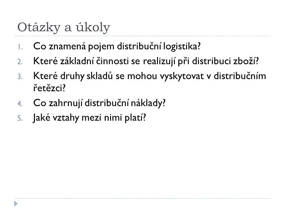 Otázky a úkoly 1. Co znamená pojem distribuční logistika.