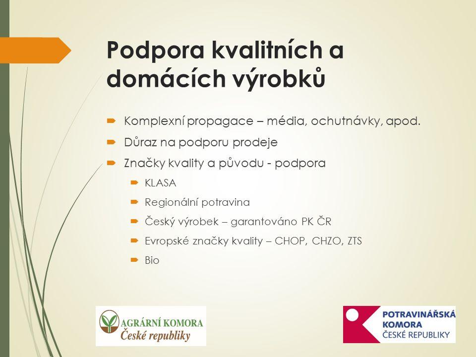 Podpora kvalitních a domácích výrobků  Komplexní propagace – média, ochutnávky, apod.