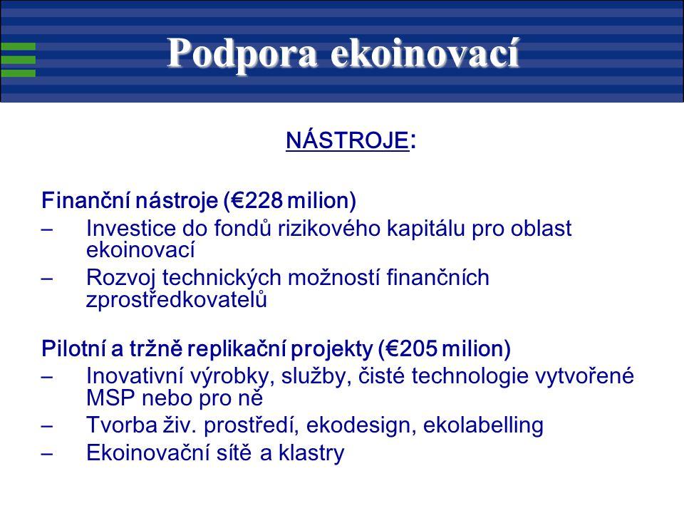 NÁSTROJE : Finanční nástroje (€228 milion) –Investice do fondů rizikového kapitálu pro oblast ekoinovací –Rozvoj technických možností finančních zprostředkovatelů Pilotní a tržně replikační projekty (€205 milion) –Inovativní výrobky, služby, čisté technologie vytvořené MSP nebo pro ně –Tvorba živ.