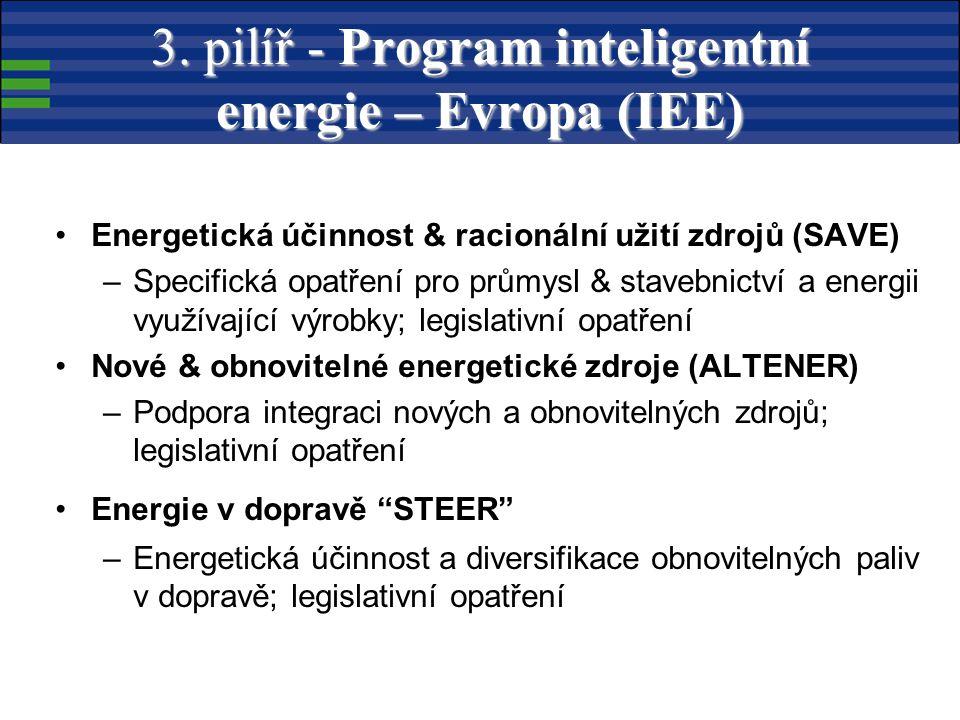 Energetická účinnost & racionální užití zdrojů (SAVE) –Specifická opatření pro průmysl & stavebnictví a energii využívající výrobky; legislativní opatření Nové & obnovitelné energetické zdroje (ALTENER) –Podpora integraci nových a obnovitelných zdrojů; legislativní opatření Energie v dopravě STEER –Energetická účinnost a diversifikace obnovitelných paliv v dopravě; legislativní opatření 3.
