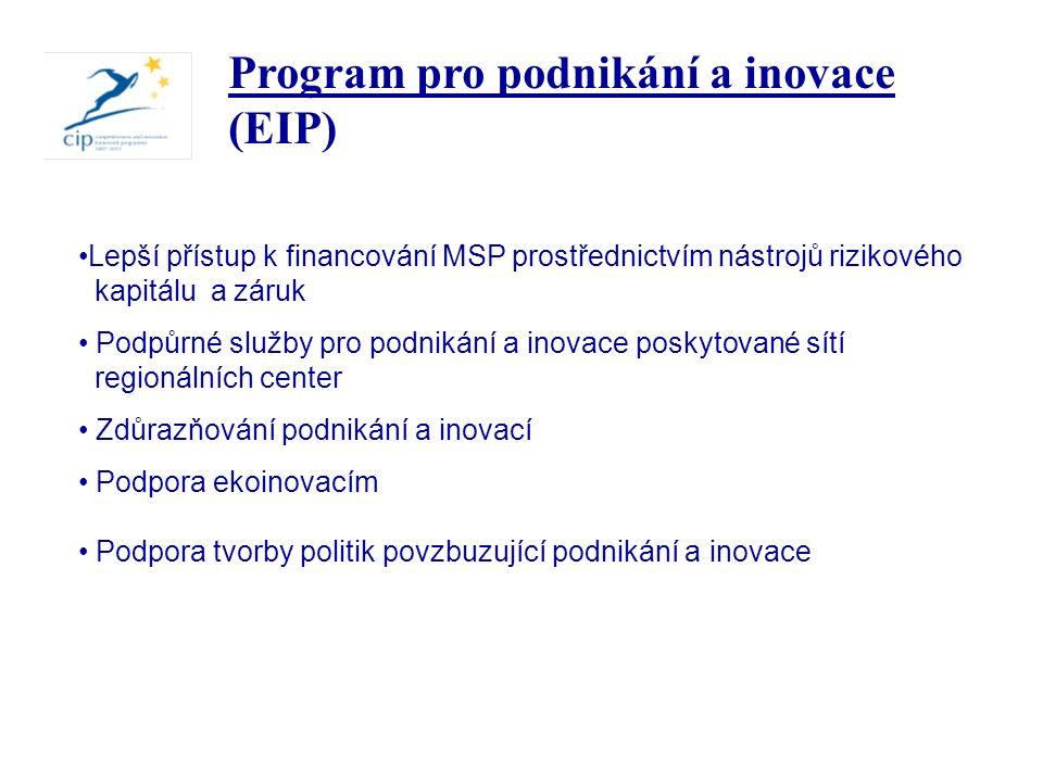 Lepší přístup k financování MSP prostřednictvím nástrojů rizikového kapitálu a záruk Podpůrné služby pro podnikání a inovace poskytované sítí regionálních center Zdůrazňování podnikání a inovací Podpora ekoinovacím Podpora tvorby politik povzbuzující podnikání a inovace Program pro podnikání a inovace (EIP)