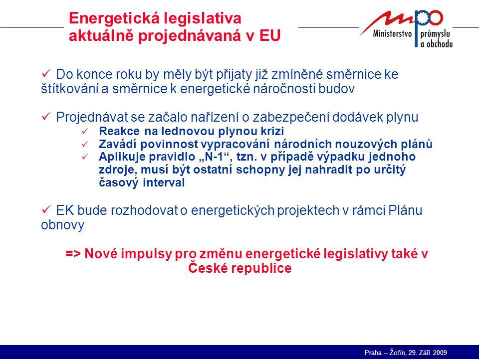 Praha – Žofín, 29. Září 2009 Energetická legislativa aktuálně projednávaná v EU Do konce roku by měly být přijaty již zmíněné směrnice ke štítkování a