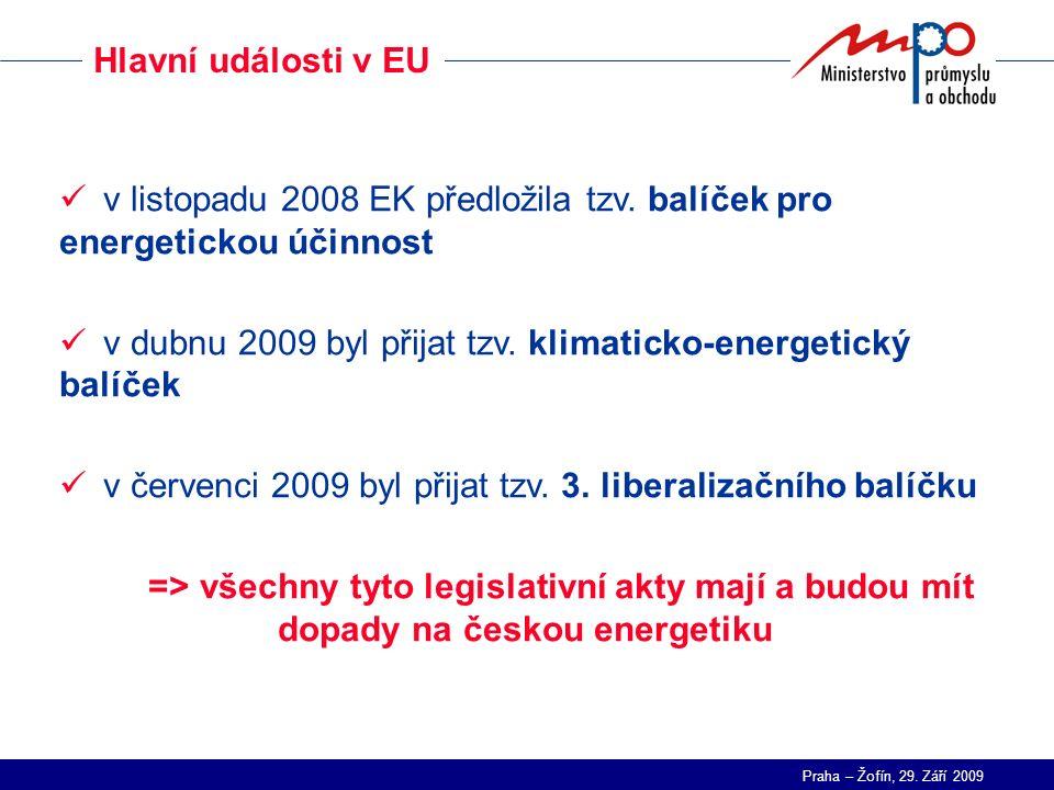 Praha – Žofín, 29. Září 2009 Hlavní události v EU v listopadu 2008 EK předložila tzv. balíček pro energetickou účinnost v dubnu 2009 byl přijat tzv. k