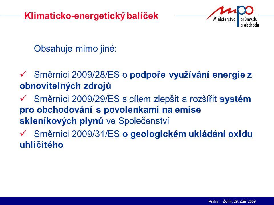 Praha – Žofín, 29. Září 2009 Klimaticko-energetický balíček Obsahuje mimo jiné: Směrnici 2009/28/ES o podpoře využívání energie z obnovitelných zdrojů