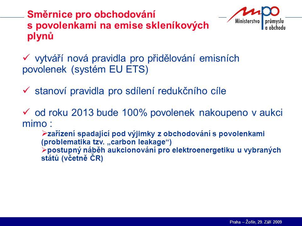 Praha – Žofín, 29. Září 2009 Směrnice pro obchodování s povolenkami na emise skleníkových plynů vytváří nová pravidla pro přidělování emisních povolen