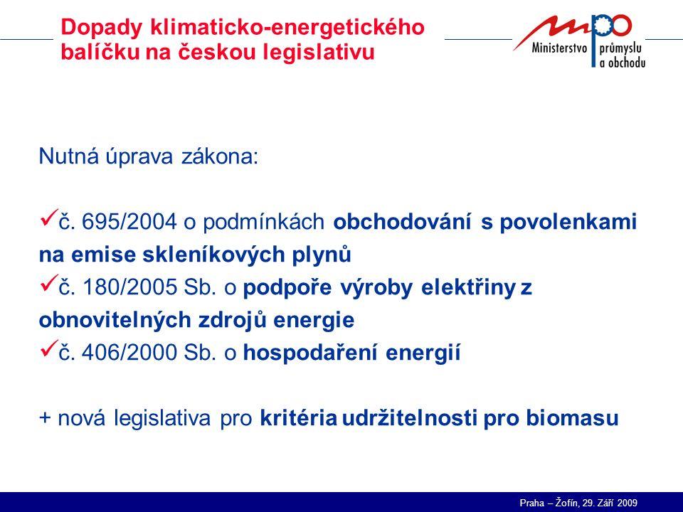 Praha – Žofín, 29. Září 2009 Dopady klimaticko-energetického balíčku na českou legislativu Nutná úprava zákona: č. 695/2004 o podmínkách obchodování s