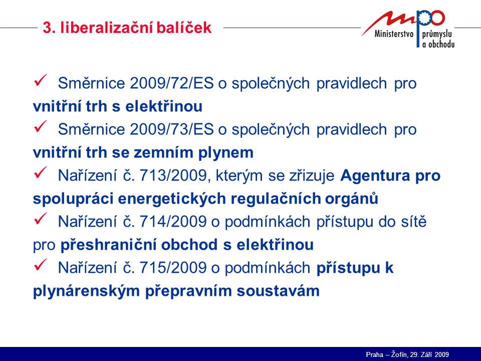 Praha – Žofín, 29. Září 2009 3. liberalizační balíček Směrnice 2009/72/ES o společných pravidlech pro vnitřní trh s elektřinou Směrnice 2009/73/ES o s