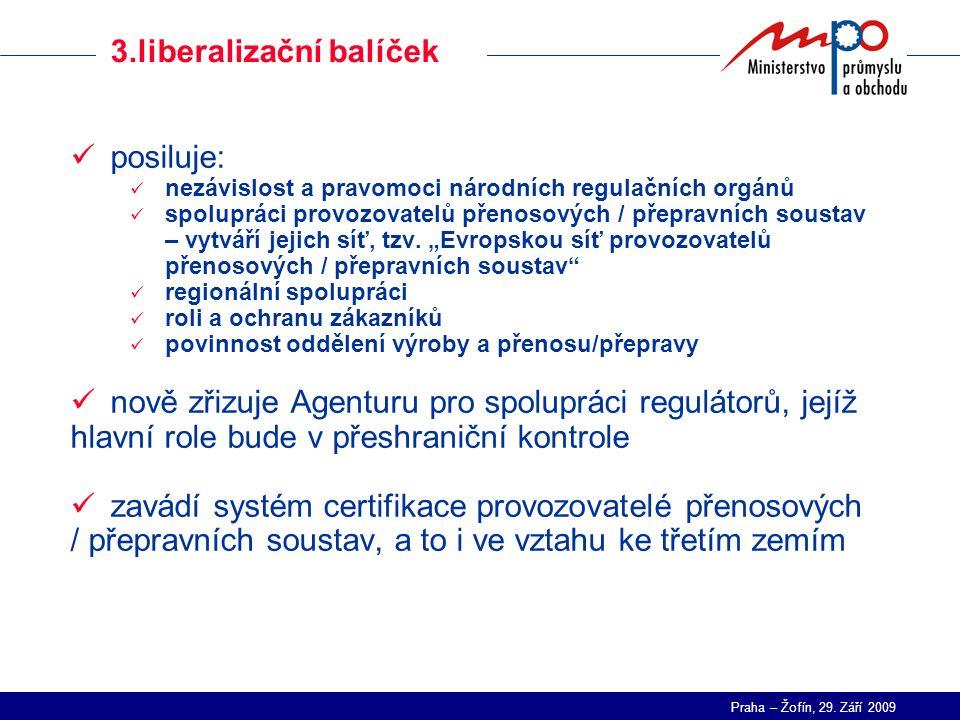 Praha – Žofín, 29. Září 2009 Virtuální elektrárna - I posiluje: nezávislost a pravomoci národních regulačních orgánů spolupráci provozovatelů přenosov