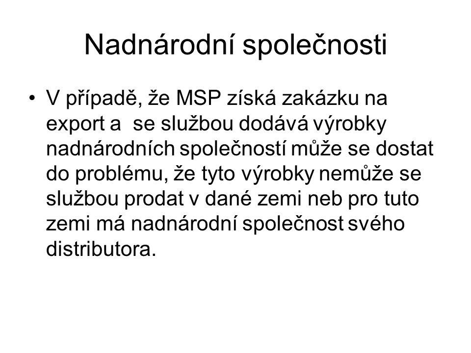 Nadnárodní společnosti V případě, že MSP získá zakázku na export a se službou dodává výrobky nadnárodních společností může se dostat do problému, že tyto výrobky nemůže se službou prodat v dané zemi neb pro tuto zemi má nadnárodní společnost svého distributora.