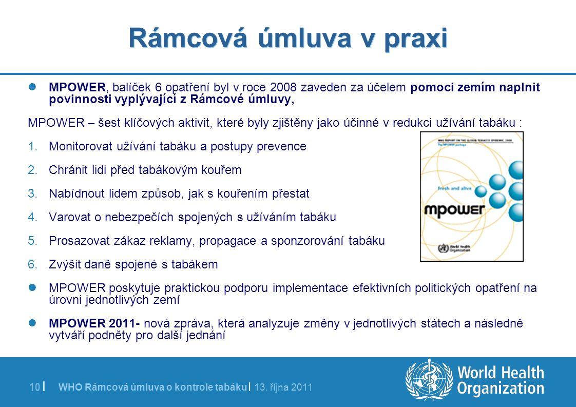 WHO Rámcová úmluva o kontrole tabáku | 13. října 2011 10 | Rámcová úmluva v praxi MPOWER, balíček 6 opatření byl v roce 2008 zaveden za účelem pomoci