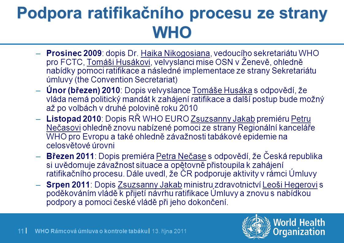 WHO Rámcová úmluva o kontrole tabáku | 13. října 2011 11 | Podpora ratifikačního procesu ze strany WHO –Prosinec 2009: dopis Dr. Haika Nikogosiana, ve