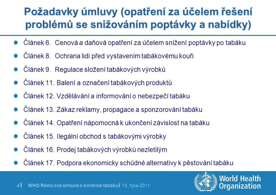 WHO Rámcová úmluva o kontrole tabáku | 13. října 2011 4 | Požadavky úmluvy (opatření za účelem řešení problémů se snižováním poptávky a nabídky) Článe