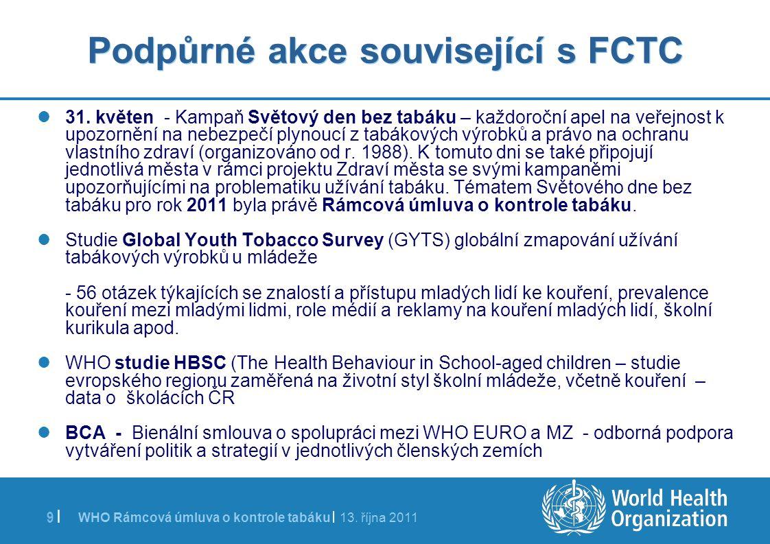 WHO Rámcová úmluva o kontrole tabáku | 13. října 2011 9 | Podpůrné akce související s FCTC 31. květen - Kampaň Světový den bez tabáku – každoroční ape