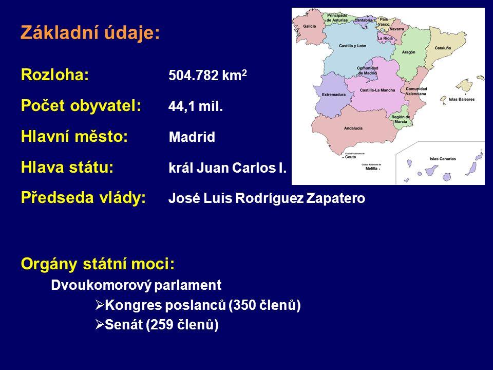 Rozloha: 504.782 km 2 Počet obyvatel: 44,1 mil. Hlavní město: Madrid Hlava státu: král Juan Carlos I. Předseda vlády: José Luis Rodríguez Zapatero Org