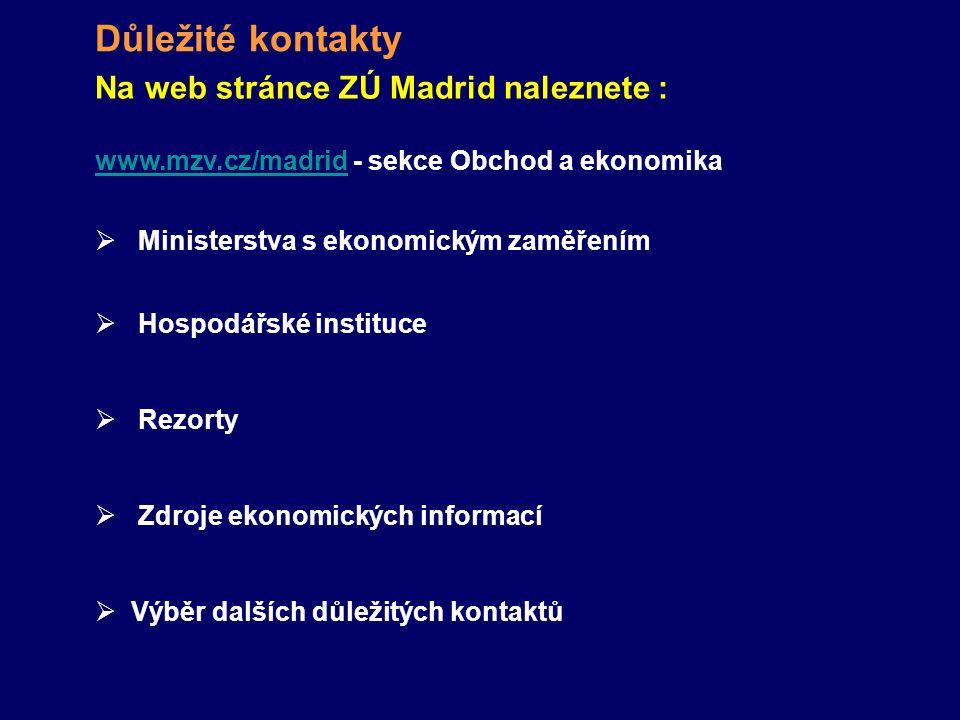 Důležité kontakty Na web stránce ZÚ Madrid naleznete :  Ministerstva s ekonomickým zaměřením  Hospodářské instituce  Rezorty  Zdroje ekonomických