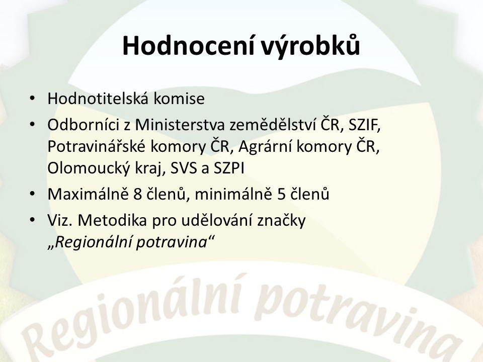 Hodnocení výrobků Hodnotitelská komise Odborníci z Ministerstva zemědělství ČR, SZIF, Potravinářské komory ČR, Agrární komory ČR, Olomoucký kraj, SVS a SZPI Maximálně 8 členů, minimálně 5 členů Viz.