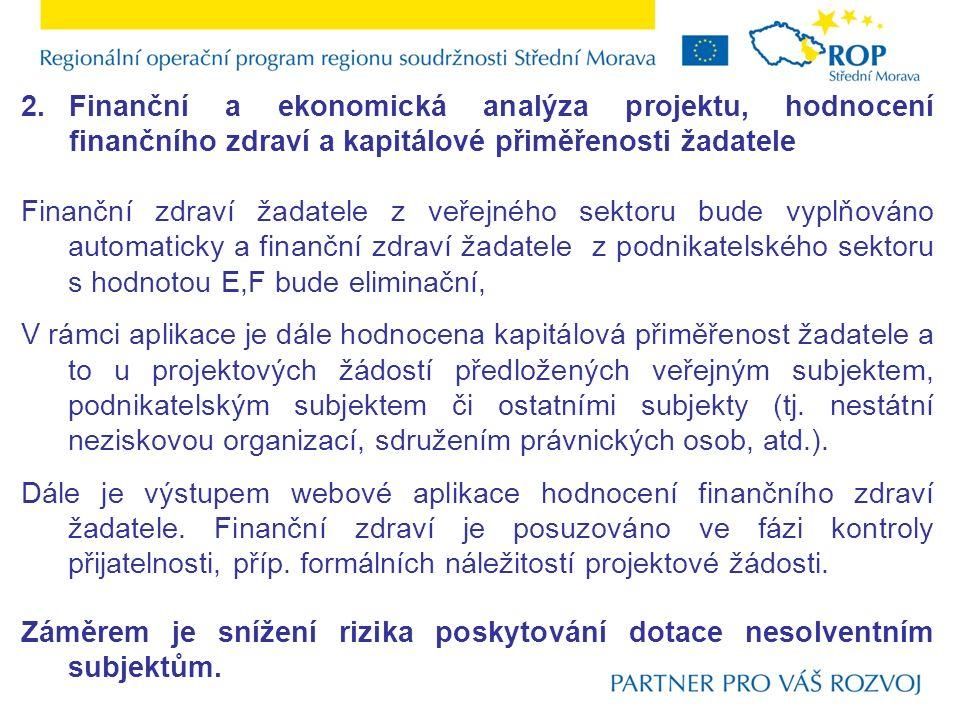 2.Finanční a ekonomická analýza projektu, hodnocení finančního zdraví a kapitálové přiměřenosti žadatele Finanční zdraví žadatele z veřejného sektoru