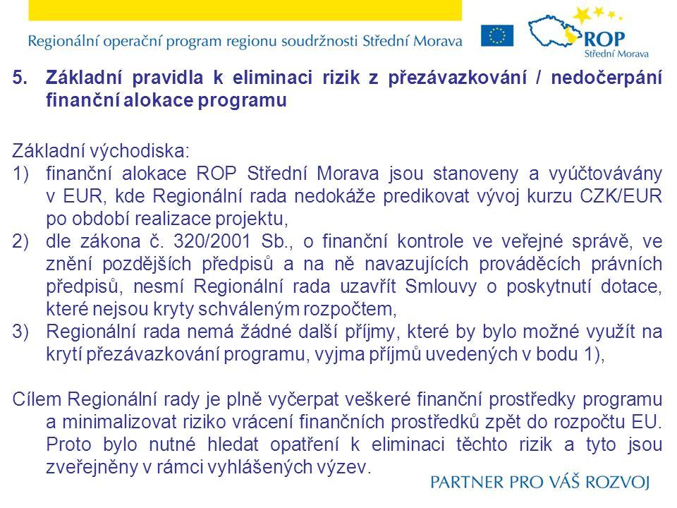 5.Základní pravidla k eliminaci rizik z přezávazkování / nedočerpání finanční alokace programu Základní východiska: 1)finanční alokace ROP Střední Mor