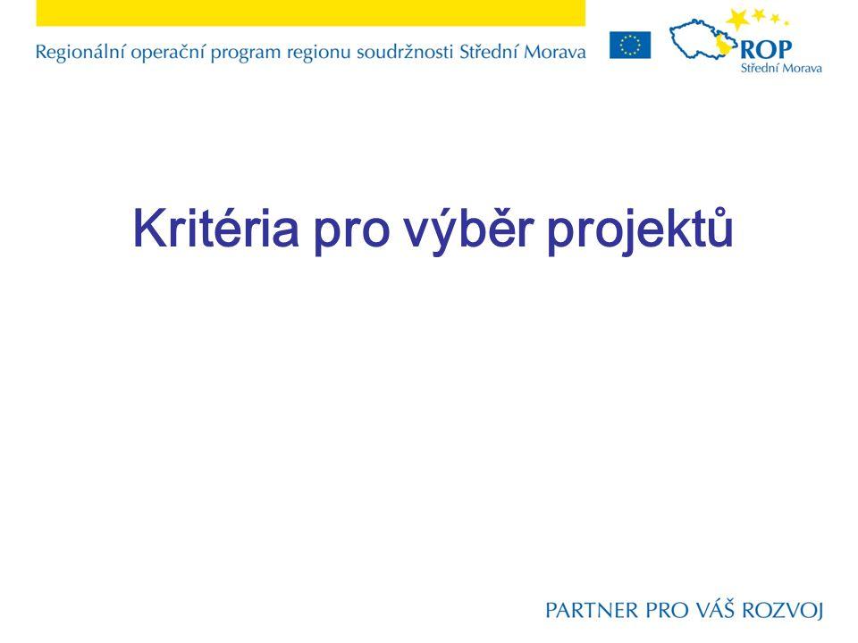 Kritéria pro výběr projektů