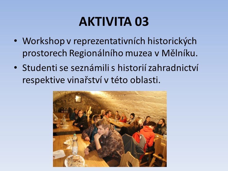 AKTIVITA 03 Jedním z klíčových úkolů projektu je využití výpočetní techniky při výuce jazyků.