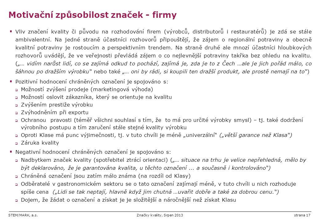 STEM/MARK, a.s.Značky kvality, Srpen 2013strana 17  Vliv značení kvality či původu na rozhodování firem (výrobců, distributorů i restauratérů) je zdá se stále ambivalentní.