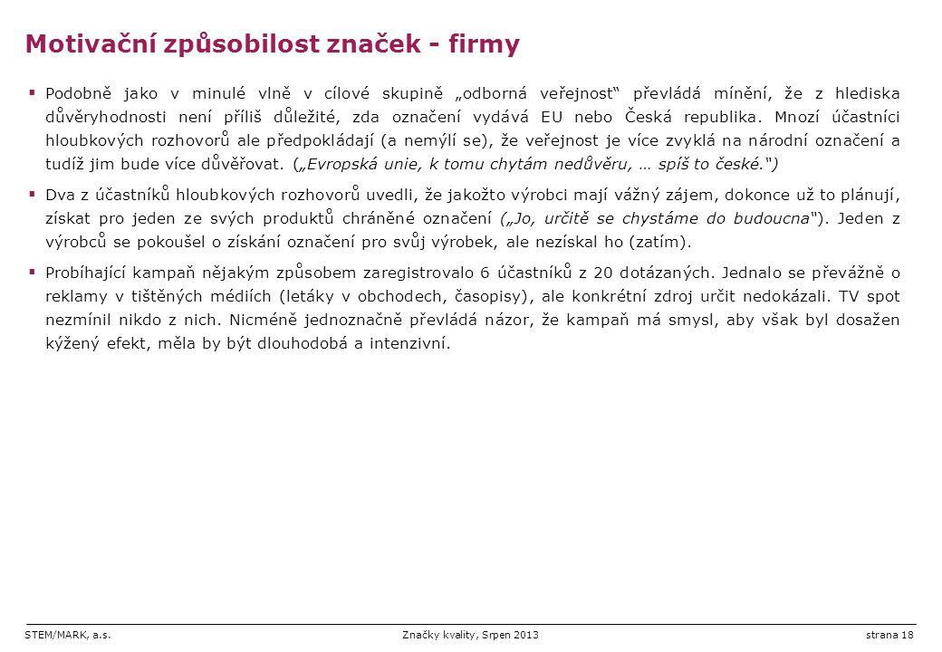 """STEM/MARK, a.s.Značky kvality, Srpen 2013strana 18  Podobně jako v minulé vlně v cílové skupině """"odborná veřejnost převládá mínění, že z hlediska důvěryhodnosti není příliš důležité, zda označení vydává EU nebo Česká republika."""