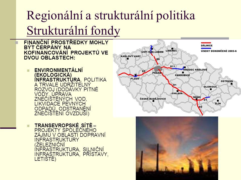 Regionální a strukturální politika Strukturální fondy FINANČNÍ PROSTŘEDKY MOHLY BÝT ČERPÁNY NA KOFINANCOVÁNÍ PROJEKTŮ VE DVOU OBLASTECH: ENVIRONMENTÁLNÍ (EKOLOGICKÁ) INFRASTRUKTURA, POLITIKA A TRVALE UDRŽITELNÝ ROZVOJ (DODÁVKY PITNÉ VODY, ÚPRAVA ZNEČIŠTĚNÝCH VOD, LIKVIDACE PEVNÝCH ODPADŮ, ODSTRANĚNÍ ZNEČIŠTĚNÍ OVZDUŠÍ) TRANSEVROPSKÉ SÍTĚ – PROJEKTY SPOLEČNÉHO ZÁJMU V OBLASTI DOPRAVNÍ INFRASTRUKTURY (ŽELEZNIČNÍ INFRASTRUKTURA, SILNIČNÍ INFRASTRUKTURA, PŘÍSTAVY, LETIŠTĚ)