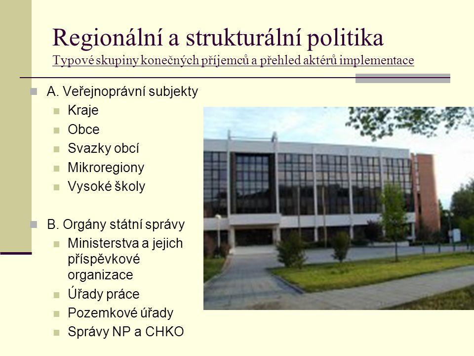 Regionální a strukturální politika Typové skupiny konečných příjemců a přehled aktérů implementace A.