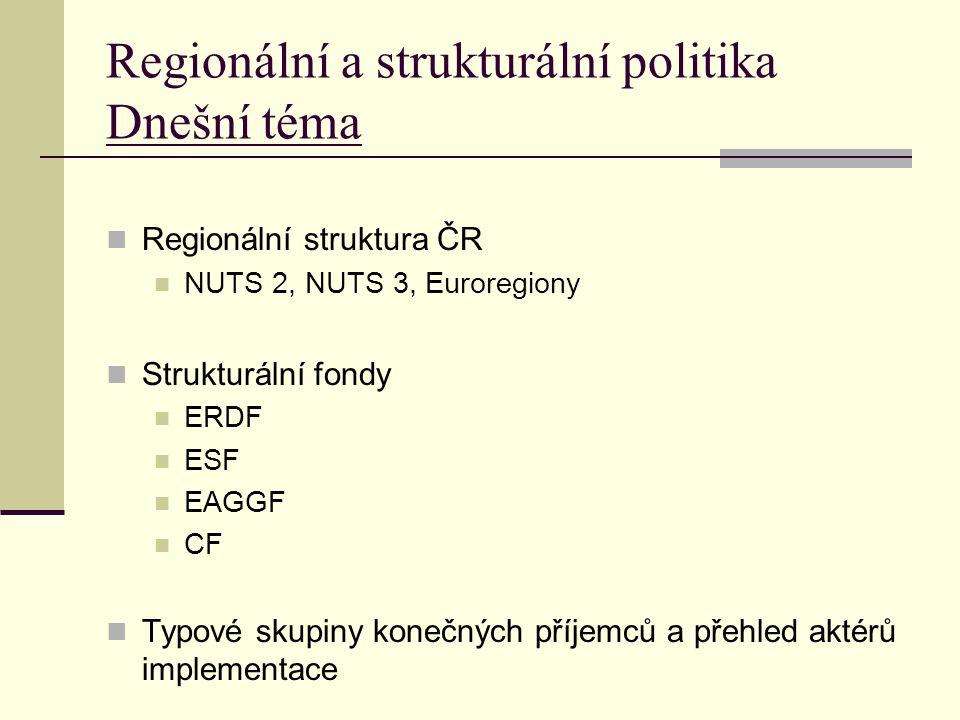 Regionální a strukturální politika Dnešní téma Regionální struktura ČR NUTS 2, NUTS 3, Euroregiony Strukturální fondy ERDF ESF EAGGF CF Typové skupiny konečných příjemců a přehled aktérů implementace