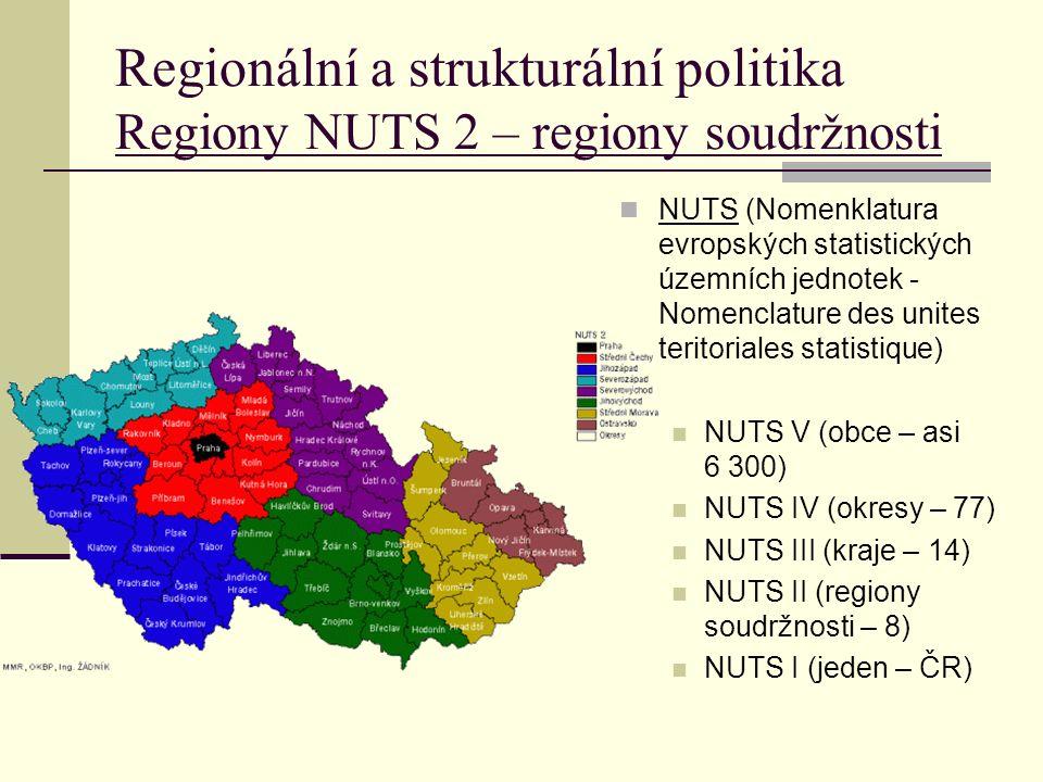 Regionální a strukturální politika Regiony NUTS 2 – regiony soudržnosti NUTS (Nomenklatura evropských statistických územních jednotek - Nomenclature des unites teritoriales statistique) NUTS V (obce – asi 6 300) NUTS IV (okresy – 77) NUTS III (kraje – 14) NUTS II (regiony soudržnosti – 8) NUTS I (jeden – ČR)