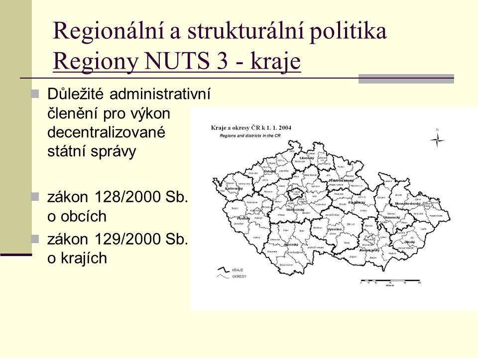 Regionální a strukturální politika Regiony NUTS 3 - kraje Důležité administrativní členění pro výkon decentralizované státní správy zákon 128/2000 Sb.