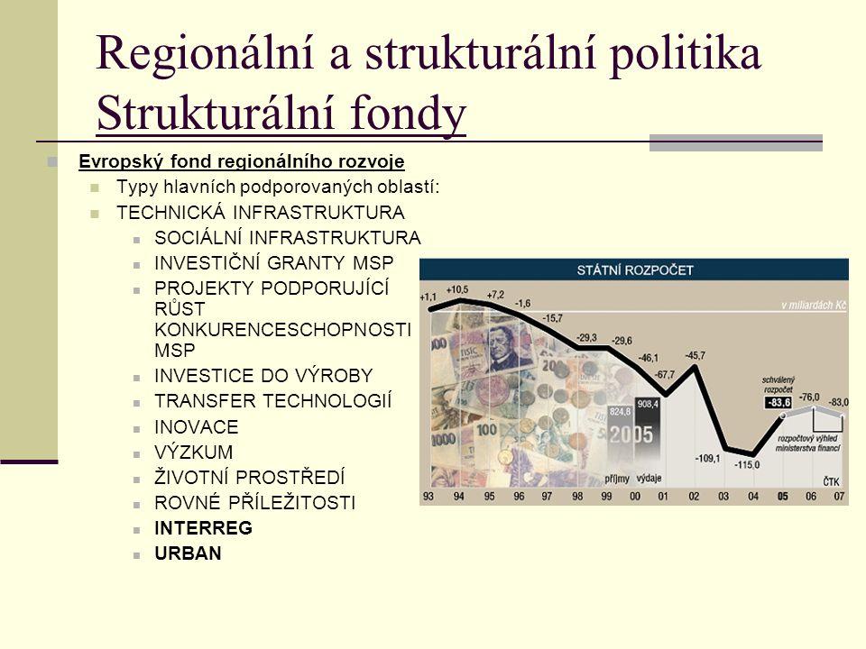 Regionální a strukturální politika Strukturální fondy Evropský fond regionálního rozvoje Typy hlavních podporovaných oblastí: TECHNICKÁ INFRASTRUKTURA SOCIÁLNÍ INFRASTRUKTURA INVESTIČNÍ GRANTY MSP PROJEKTY PODPORUJÍCÍ RŮST KONKURENCESCHOPNOSTI MSP INVESTICE DO VÝROBY TRANSFER TECHNOLOGIÍ INOVACE VÝZKUM ŽIVOTNÍ PROSTŘEDÍ ROVNÉ PŘÍLEŽITOSTI INTERREG URBAN