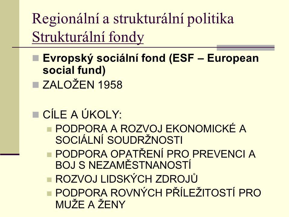 Regionální a strukturální politika Strukturální fondy Evropský sociální fond (ESF – European social fund) ZALOŽEN 1958 CÍLE A ÚKOLY: PODPORA A ROZVOJ EKONOMICKÉ A SOCIÁLNÍ SOUDRŽNOSTI PODPORA OPATŘENÍ PRO PREVENCI A BOJ S NEZAMĚSTNANOSTÍ ROZVOJ LIDSKÝCH ZDROJŮ PODPORA ROVNÝCH PŘÍLEŽITOSTÍ PRO MUŽE A ŽENY