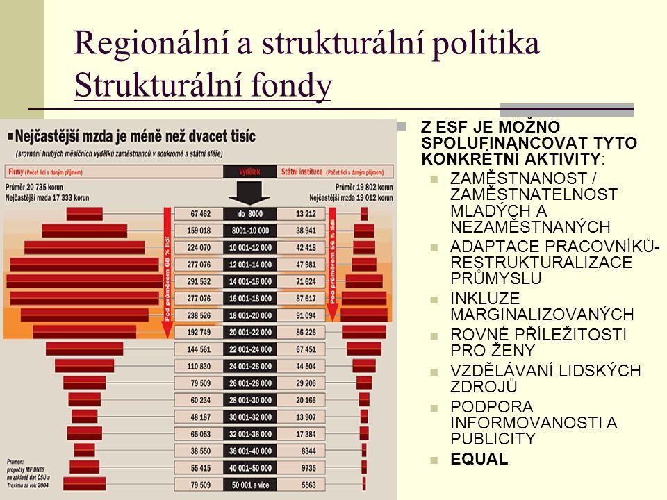 Regionální a strukturální politika Strukturální fondy Z ESF JE MOŽNO SPOLUFINANCOVAT TYTO KONKRÉTNÍ AKTIVITY: ZAMĚSTNANOST / ZAMĚSTNATELNOST MLADÝCH A NEZAMĚSTNANÝCH ADAPTACE PRACOVNÍKŮ- RESTRUKTURALIZACE PRŮMYSLU INKLUZE MARGINALIZOVANÝCH ROVNÉ PŘÍLEŽITOSTI PRO ŽENY VZDĚLÁVANÍ LIDSKÝCH ZDROJŮ PODPORA INFORMOVANOSTI A PUBLICITY EQUAL