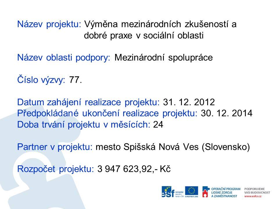 Název projektu: Výměna mezinárodních zkušeností a dobré praxe v sociální oblasti Název oblasti podpory: Mezinárodní spolupráce Číslo výzvy: 77. Datum