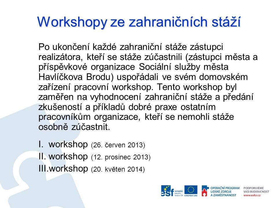 Workshopy ze zahraničních stáží Po ukončení každé zahraniční stáže zástupci realizátora, kteří se stáže zúčastnili (zástupci města a příspěvkové organ