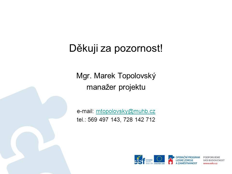 Děkuji za pozornost! Mgr. Marek Topolovský manažer projektu e-mail: mtopolovsky@muhb.czmtopolovsky@muhb.cz tel.: 569 497 143, 728 142 712