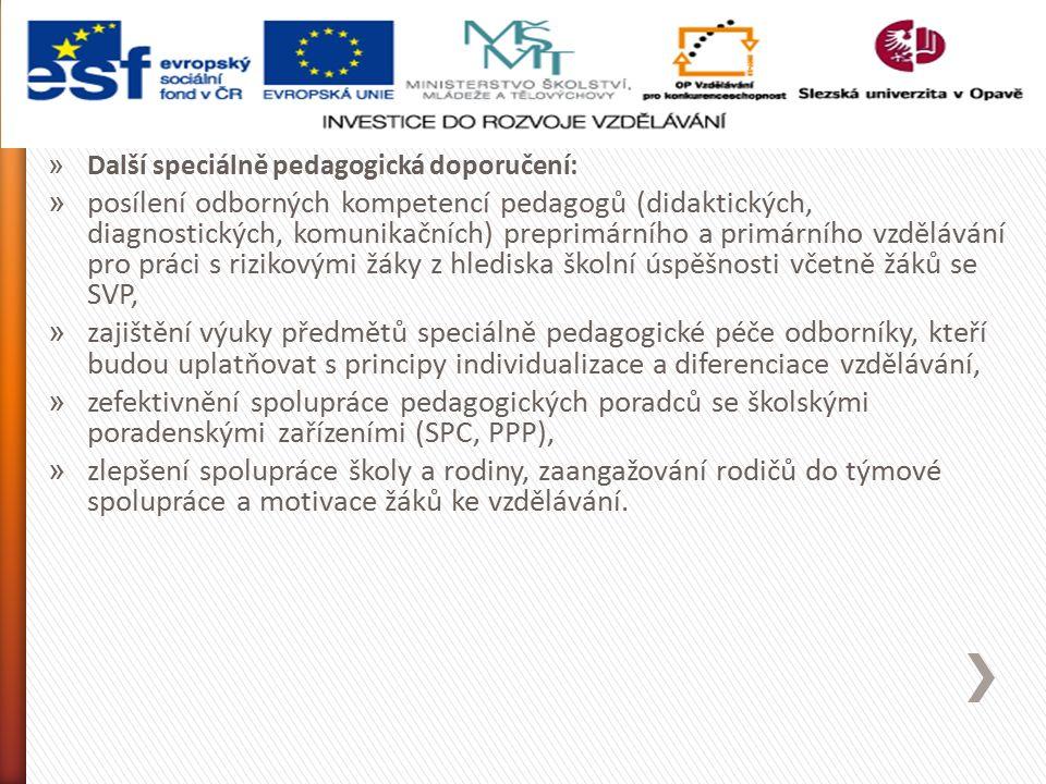» Další speciálně pedagogická doporučení: » posílení odborných kompetencí pedagogů (didaktických, diagnostických, komunikačních) preprimárního a primárního vzdělávání pro práci s rizikovými žáky z hlediska školní úspěšnosti včetně žáků se SVP, » zajištění výuky předmětů speciálně pedagogické péče odborníky, kteří budou uplatňovat s principy individualizace a diferenciace vzdělávání, » zefektivnění spolupráce pedagogických poradců se školskými poradenskými zařízeními (SPC, PPP), » zlepšení spolupráce školy a rodiny, zaangažování rodičů do týmové spolupráce a motivace žáků ke vzdělávání.