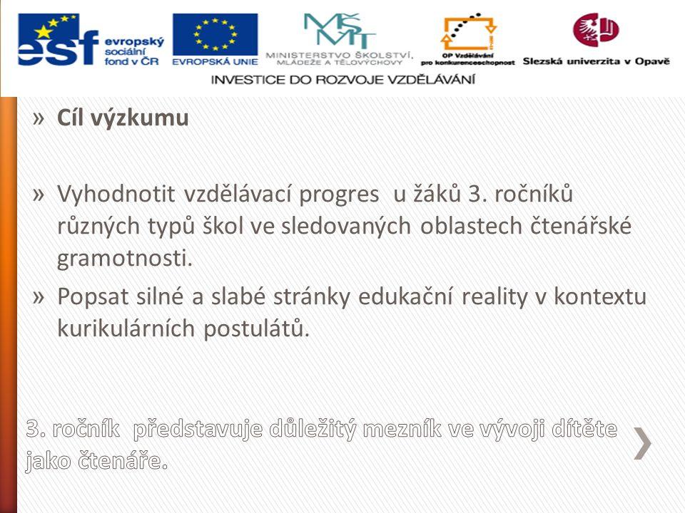 » Cíl výzkumu » Vyhodnotit vzdělávací progres u žáků 3.