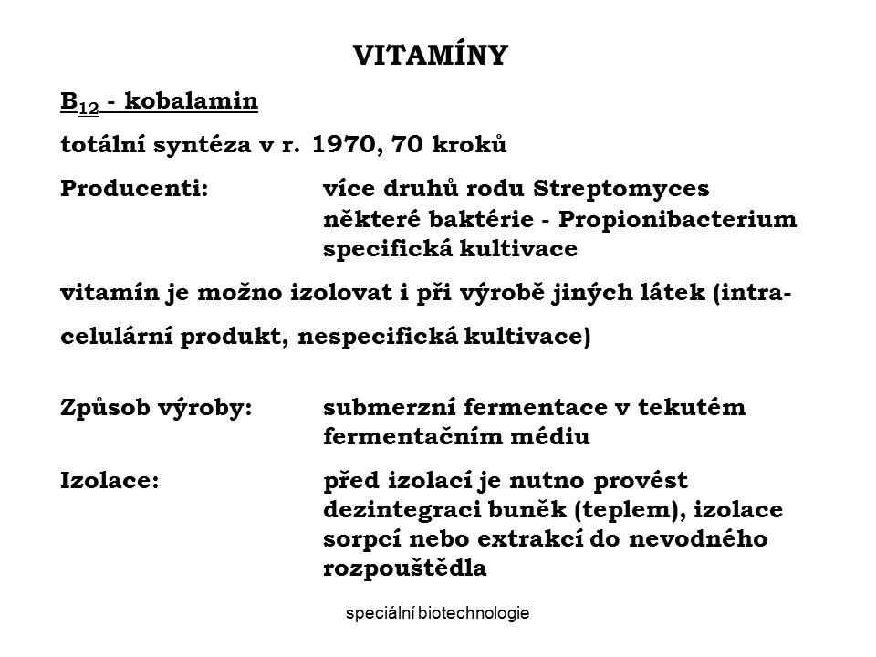 speciální biotechnologie VITAMÍNY B 12 - kobalamin totální syntéza v r.