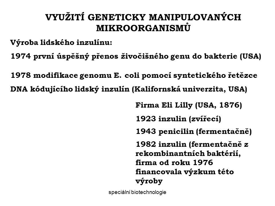 speciální biotechnologie VYUŽITÍ GENETICKY MANIPULOVANÝCH MIKROORGANISMŮ Výroba lidského inzulínu: 1974 první úspěšný přenos živočišného genu do bakterie (USA) 1978 modifikace genomu E.