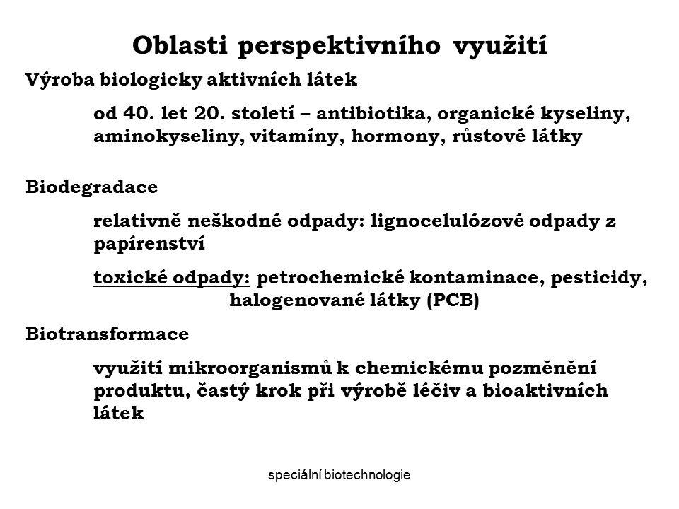 speciální biotechnologie Oblasti perspektivního využití Výroba biologicky aktivních látek od 40.